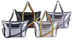 Metallic Puffer Tote Weekender w/ Decorative Straps